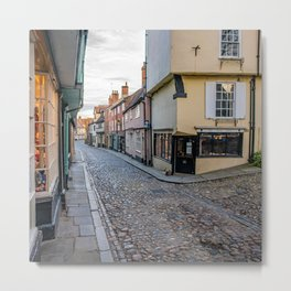 Medieval street of Elm Hill, Norwich Metal Print