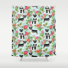 Schnauzer hawaii pattern floral hibiscus floral flower pattern palm leaves Shower Curtain