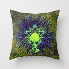 Ufo Alien Scifi Colorful Geometry Pattern Throw Pillow