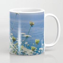 Flowers by the Beautiful Blue Sea Coffee Mug