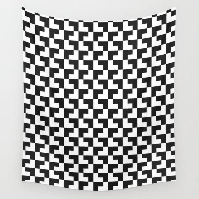 Black and White Tessellation Pattern - Graphic Design Wall Tapestry