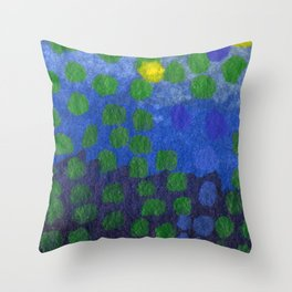 GREEN DOTS, A LITTLE ABSTRACT Throw Pillow