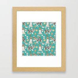 Shetland Sheepdog blue merle sheltie dog breed coffee pattern dogs portrait sheepdogs art Framed Art Print