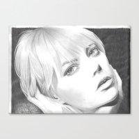emma stone Canvas Prints featuring Emma Stone Portrait  by jdash9