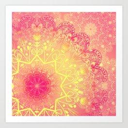 Mandala in Rose and Lemon Art Print