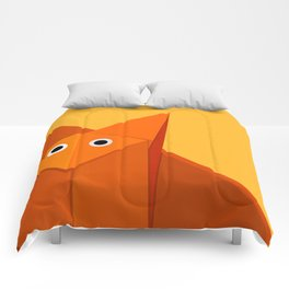 Geometric Cute Origami Fox Portrait Comforters