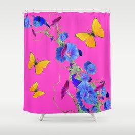 Fuchsia Pink Golden Butterflies Blue Morning Glory Shower Curtain