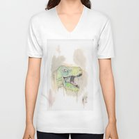 t rex V-neck T-shirts featuring T-Rex by BijanSouri