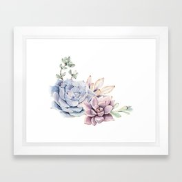 Pristine Succulents Blue and Pink Framed Art Print