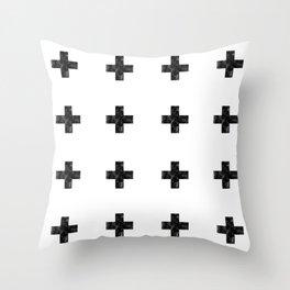 Watercolor Swiss Cross (White) Throw Pillow