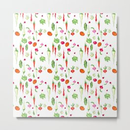 Veggie Party Pattern Metal Print