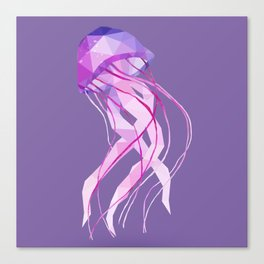 Low Poly Pelagia Noctiluca Jelly Fish. Canvas Print