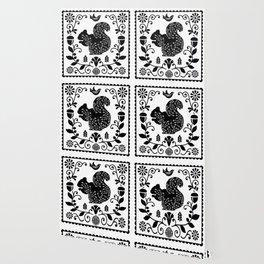 Woodland Folk Black And White Squirrel Tile Wallpaper