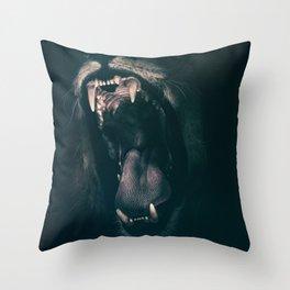 Lion Roaring Throw Pillow