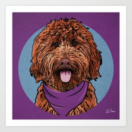 Icons of the Dog Park: Labradoodle Design in Bold Colors for Pet Lovers Art Print