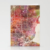 detroit Stationery Cards featuring Detroit by MapMapMaps.Watercolors