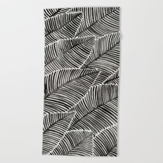 Tropical Palm Leaves – Black Palette Beach Towel