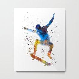 Man skateboard 01 in watercolor Metal Print