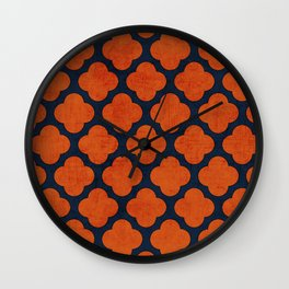 navy and orange clover Wall Clock