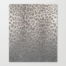 Shimmer (Snow Leopard Glitter Abstract) Canvas Print