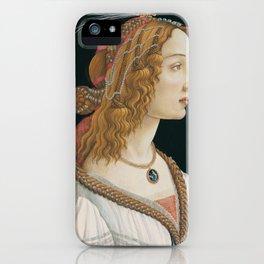 "Sandro Botticelli ""Idealized Portrait of a Lady (Portrait of Simonetta Vespucci as Nymph)"" iPhone Case"