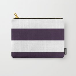 Wide Horizontal Stripes - White and Dark Purple Carry-All Pouch