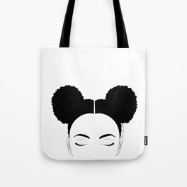 Afro-Puffs artwork, modern black and white designed by Gail Good Tote Bag