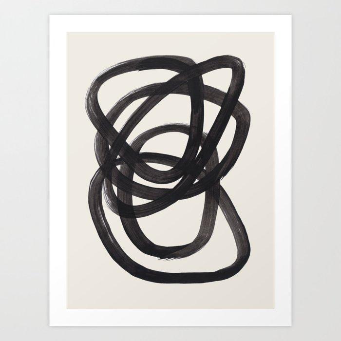 Mid Century Modern Minimalist Abstract Art Brush Strokes Black & White Ink Art Spiral Circles Kunstdrucke