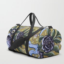 Antique floral ceramic tiles 1 Duffle Bag