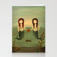 pisces Stationery Cards featuring Pisces by The Midnight Rabbit