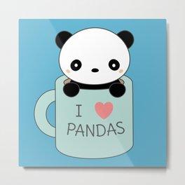 Kawaii Panda Coffee Mug Metal Print