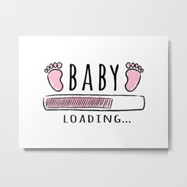 pregnancy announcement baby is loading Metal Print