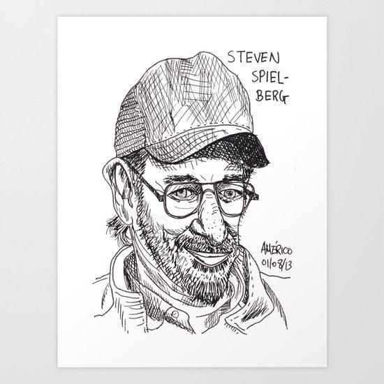 Steven Spielberg caricature Art Print