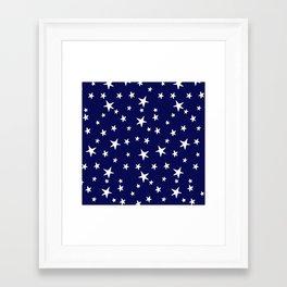 Stars - White on Navy Blue Framed Art Print