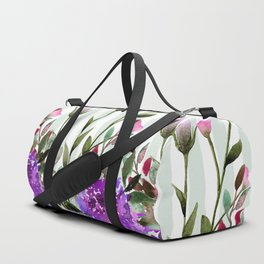 Modern lavender purple pastel green floral stripes Duffle Bag