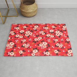05 Ditsy floral pattern. Red background. White and pink flowers. Rug