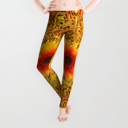 ART DECO GOLDEN SUNFLOWERS ABSTRACT Leggings