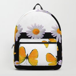 BLACK MODERN ART YELLOW BUTTERFLIES & WHITE DAISIES  ABSTRACT Backpack