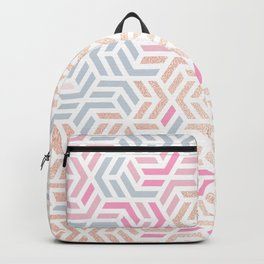 Pastel Deco Hexagon Pattern - Gold, pink & grey #pastelvibes #pattern #deco Backpack