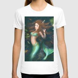 Beautiful Fantasy mermaid in lake with lilies T-shirt