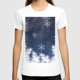 Winter white snow pine trees navy blue Christmas T-shirt