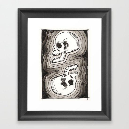 Two Skulls Framed Art Print
