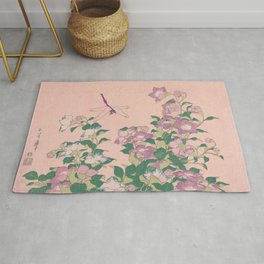 Dragonfly and Flowers Painting Vintage Art Rug