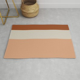Minimalist Color Block Triple Stripe in Apricot, Rust Clay, and Putty Rug