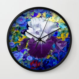 Purple-white Capped Iris Blue Floral Art Wall Clock