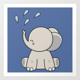 Kawaii Cute Happy Elephant Art Print