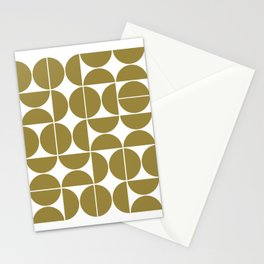 Mid Century Modern Geometric 04 Flat Gold Stationery Cards