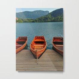 Lake Bled Boats Metal Print