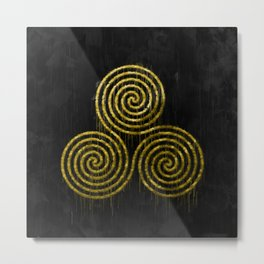 Golden Triple Spiral And Paint Drips On Black Background Metal Print