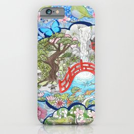 Japanese  Garden watercolor biophile paradise iPhone Case